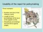 usability of the report for policymaking