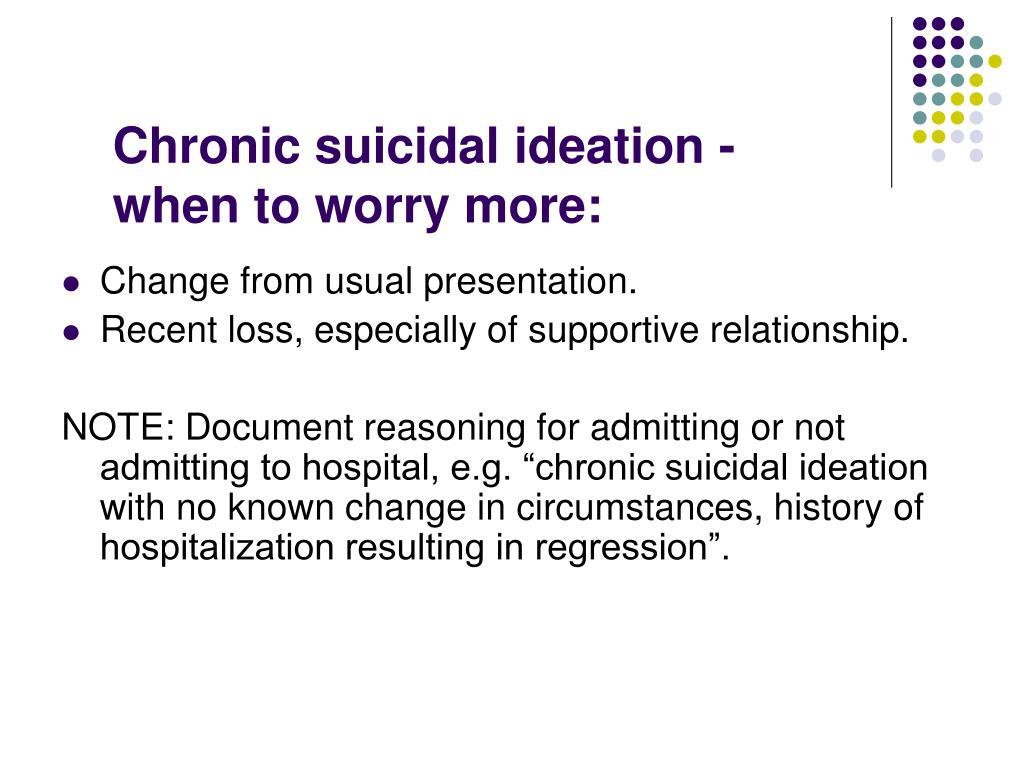 Chronic suicidal ideation -
