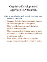 cognitive developmental approach to attachment