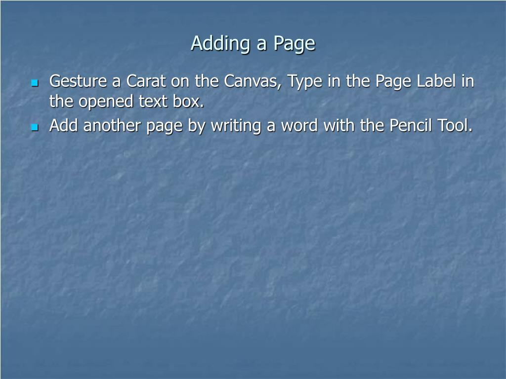 Adding a Page
