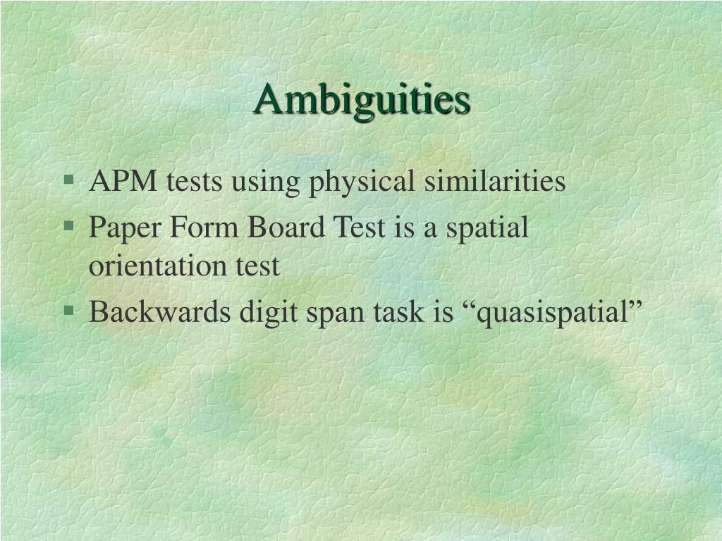 Ambiguities