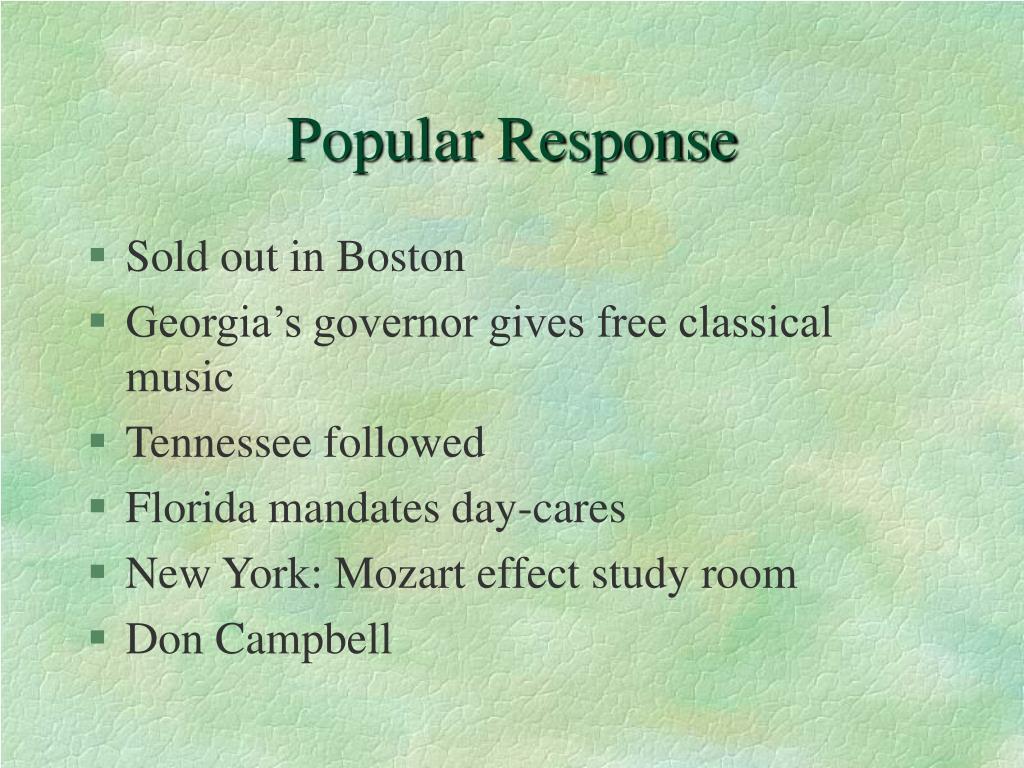 Popular Response