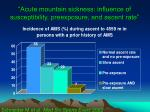 acute mountain sickness influence of susceptibility preexposure and ascent rate