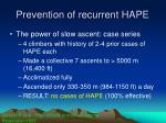 prevention of recurrent hape