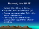 recovery from hape
