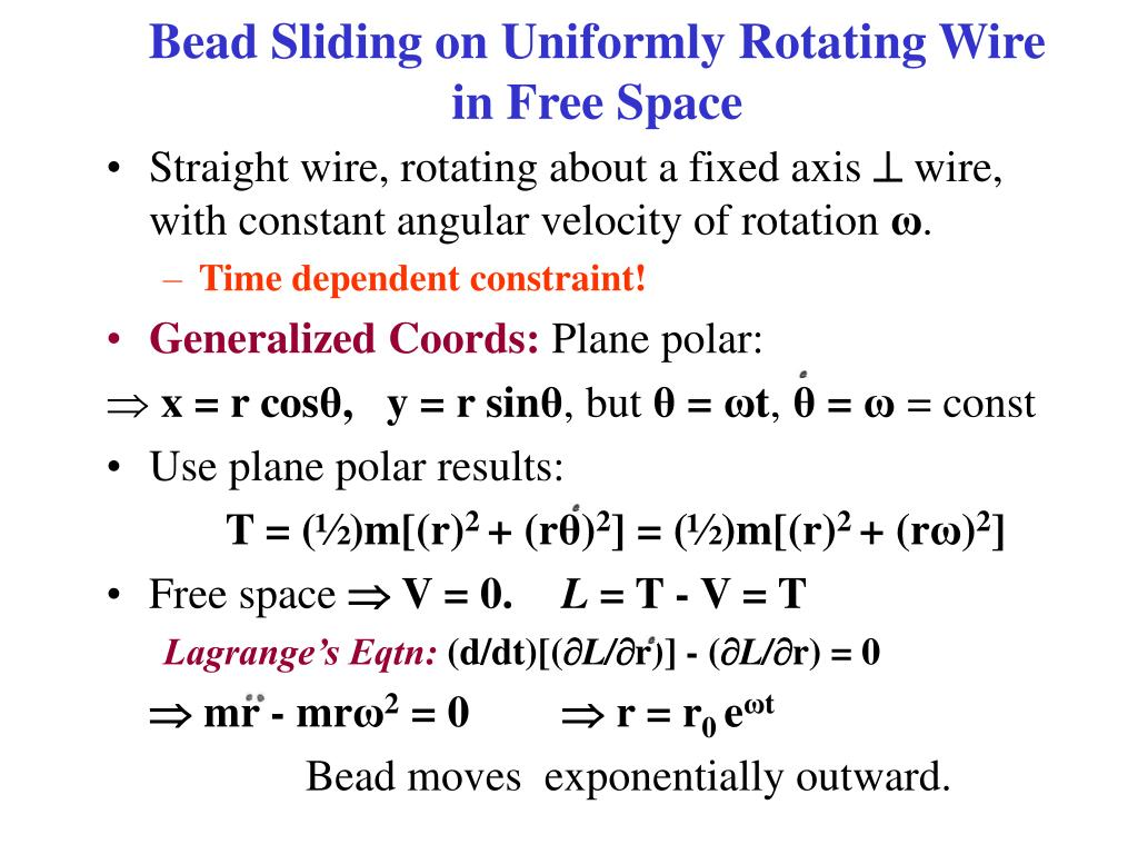 Bead Sliding on Uniformly Rotating Wire in Free Space