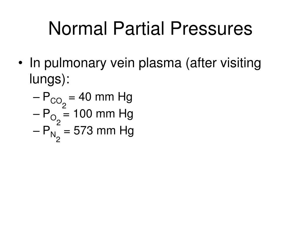 Normal Partial Pressures
