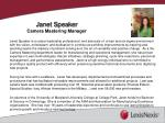 janet speaker camera mastering manager