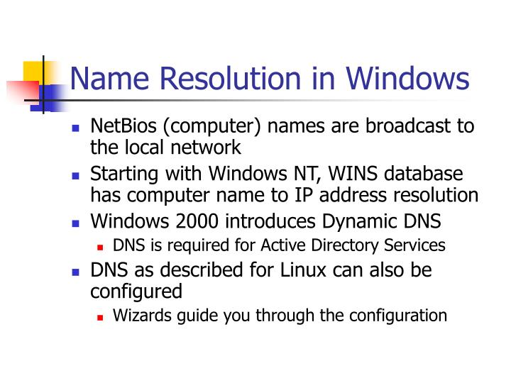 Name Resolution in Windows