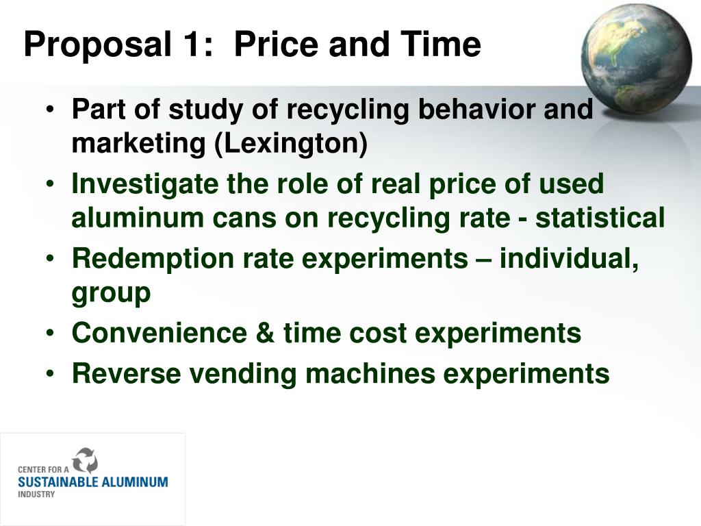 Proposal 1:  Price and Time