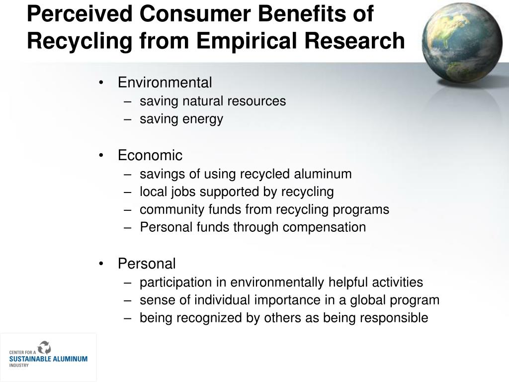 Perceived Consumer Benefits of Recycling from Empirical Research