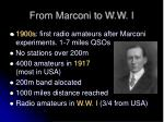 from marconi to w w i