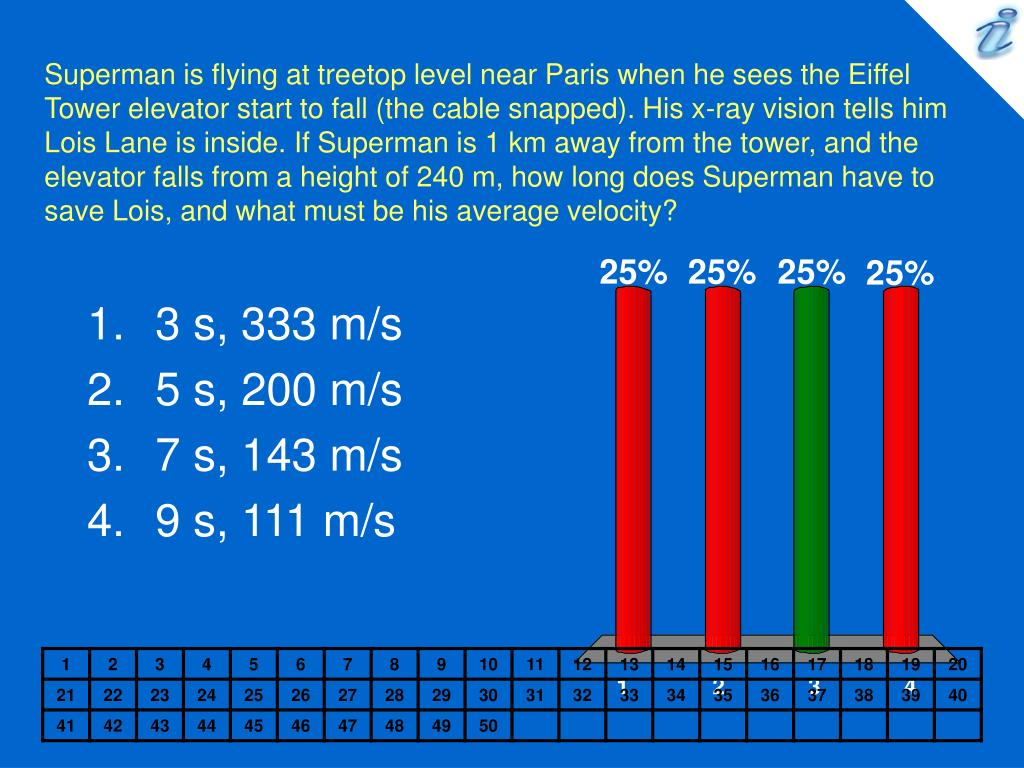 Superman is flying at treetop level near Paris when he sees the Eiffel Tower elevator start to fall (the cable snapped). His x-ray vision tells him Lois Lane is inside. If Superman is 1 km away from the tower, and the elevator falls from a height of 240 m, how long does Superman have to save Lois, and what must be his average velocity?