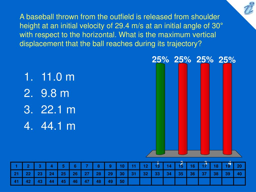 A baseball thrown from the outfield is released from shoulder height at an initial velocity of 29.4 m/s at an initial angle of 30