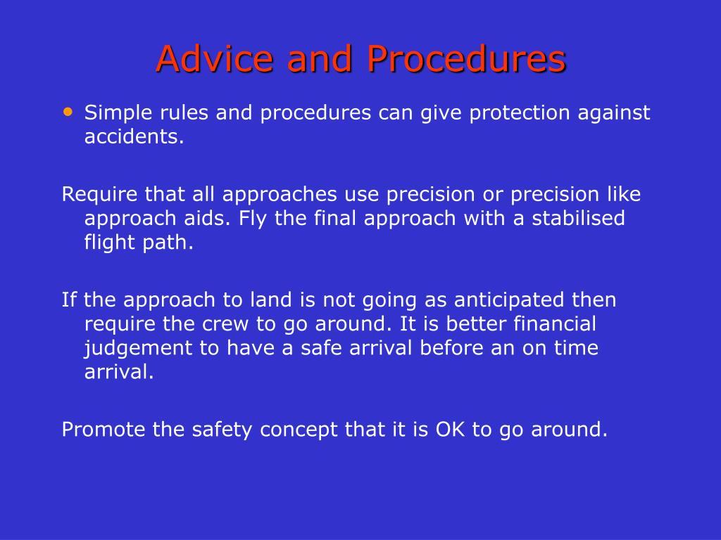 Advice and Procedures