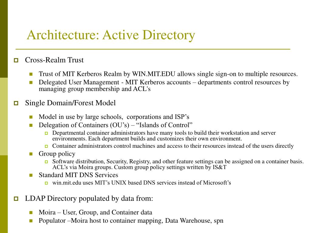 Architecture: Active Directory