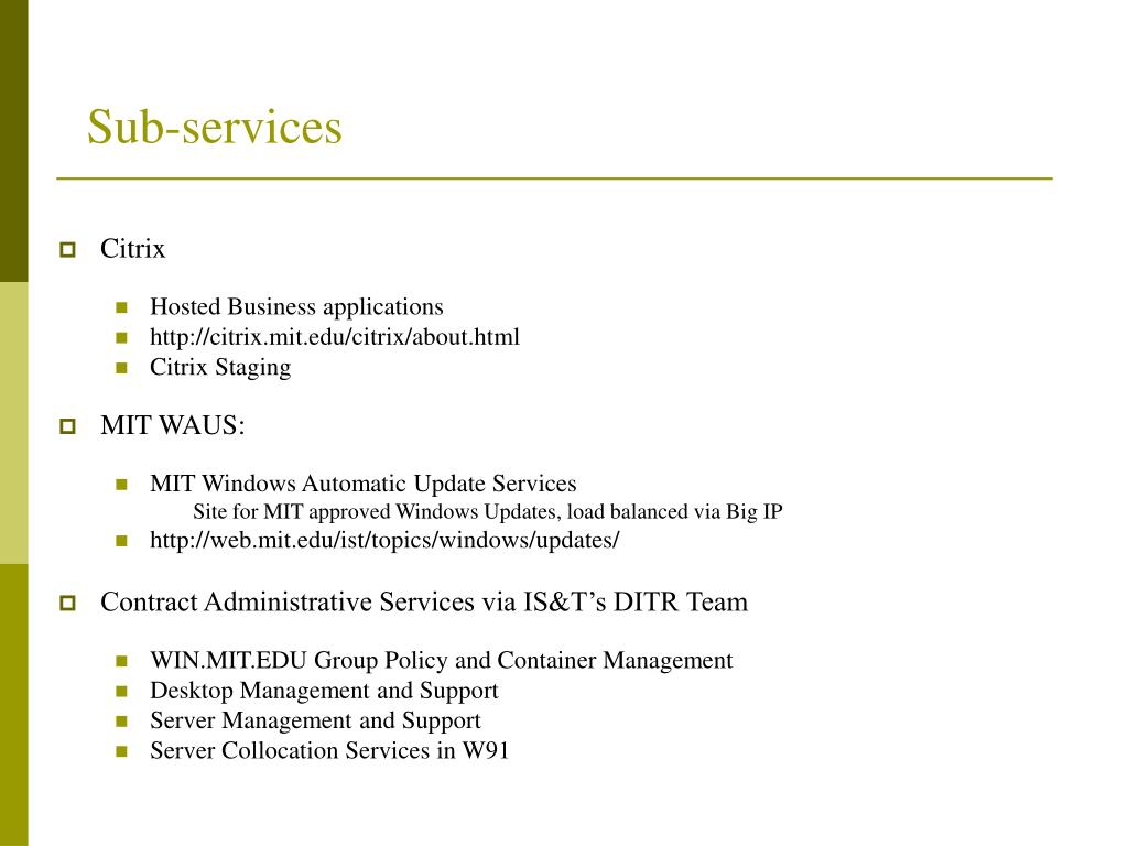 Sub-services
