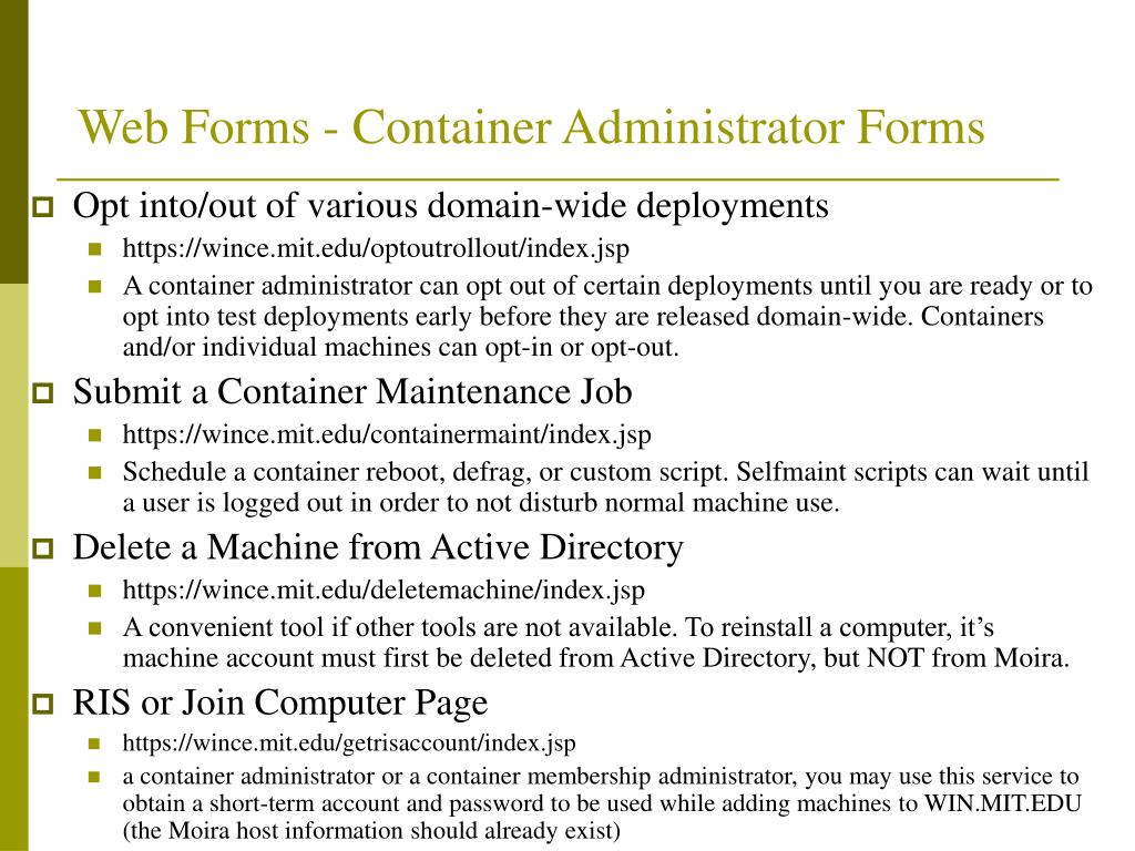 Web Forms - Container Administrator Forms