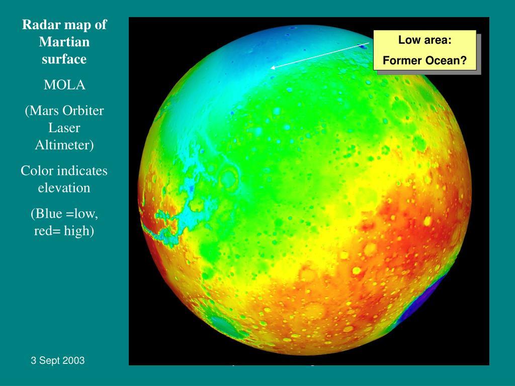 Radar map of Martian surface