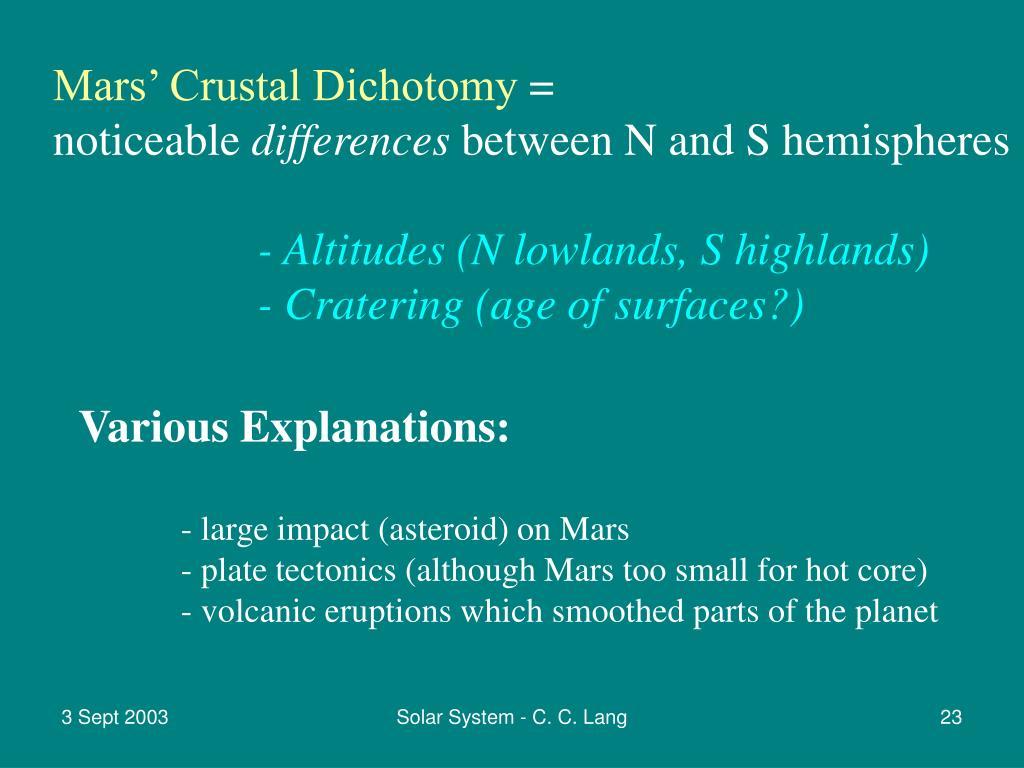 Mars' Crustal Dichotomy