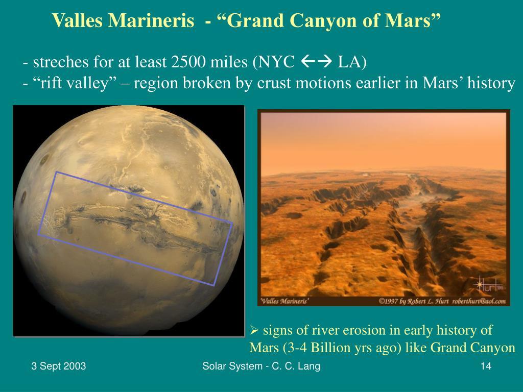 "Valles Marineris  - ""Grand Canyon of Mars"""