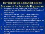 developing an ecological effects assessment for pesticide registration