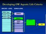 developing ow aquatic life criteria