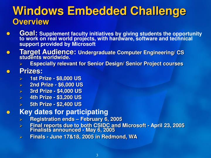 Windows embedded challenge overview
