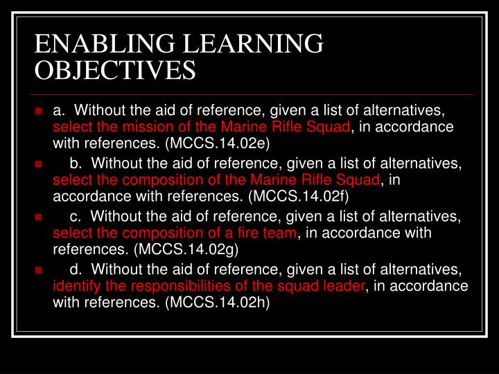 Enabling learning objectives