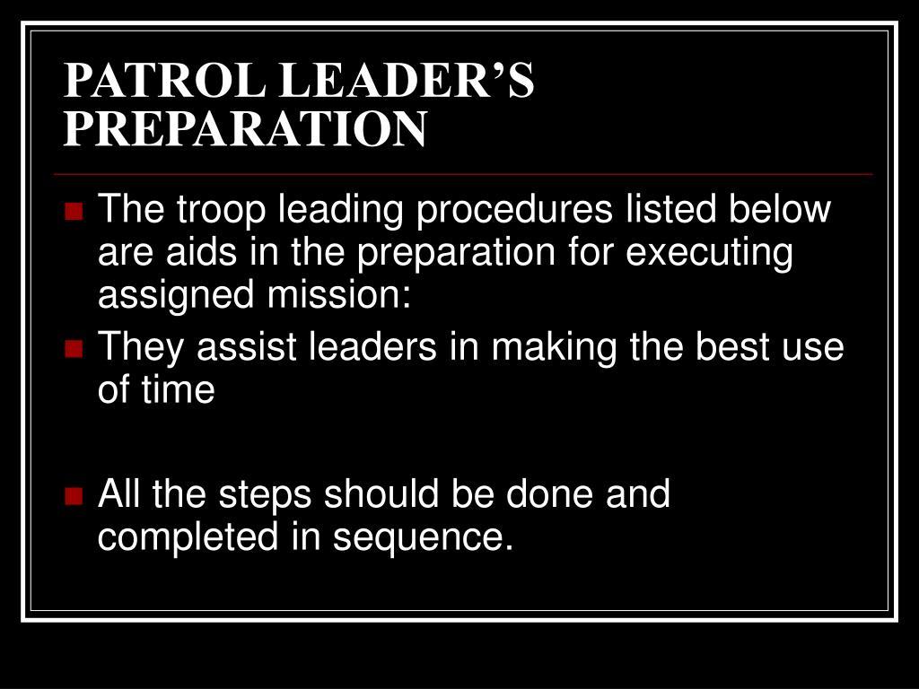 PATROL LEADER'S PREPARATION
