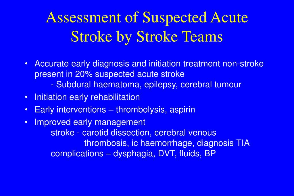 Assessment of Suspected Acute Stroke by Stroke Teams