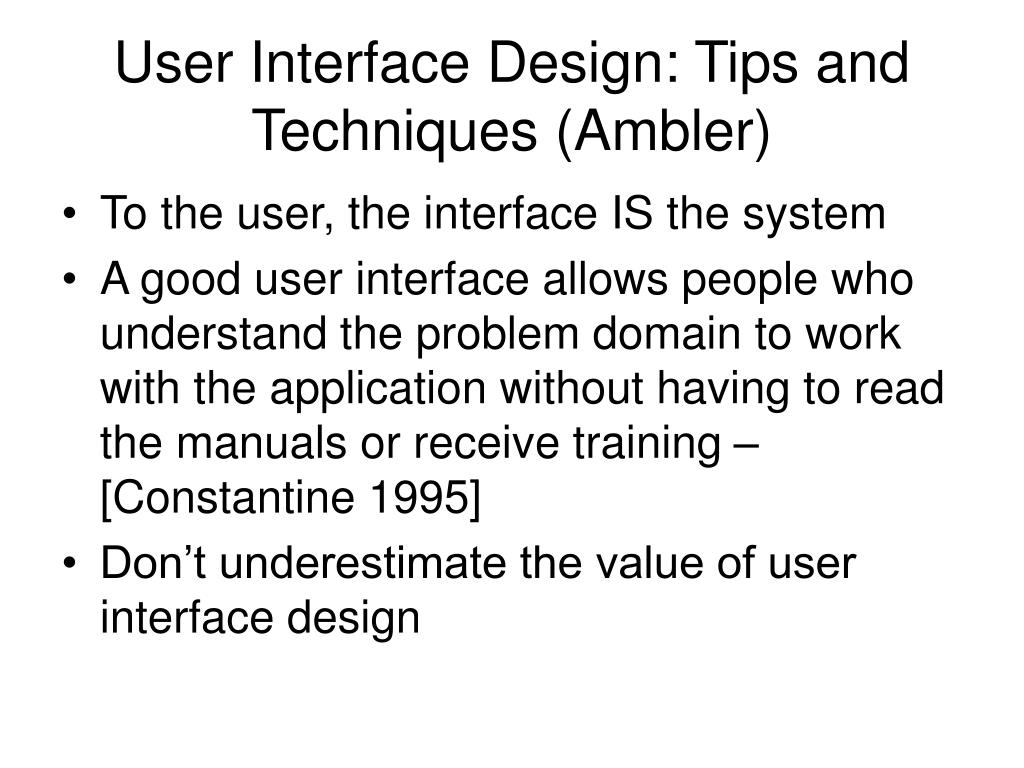 user interface design tips and techniques ambler l.