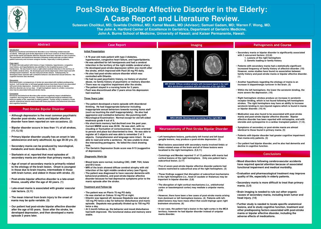 Post-Stroke Bipolar Affective Disorder in the Elderly: