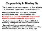 cooperativity in binding o 2