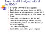 scope is ndp 9 aligned with all the mdgs