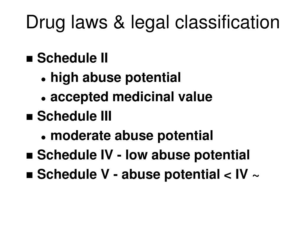 Drug laws & legal classification
