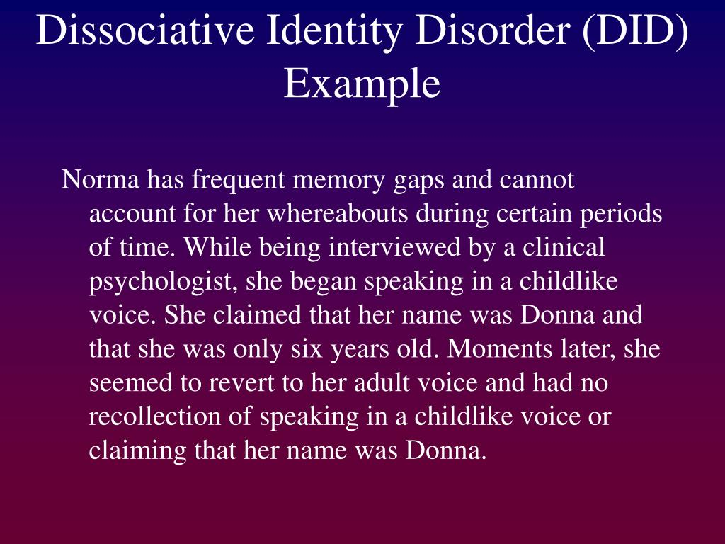 a study on the rare disorder dissociative identity disorder The dissociative disorders did not officially become nosed if dissociative identity disorder disorder are more common in a 1973 study of active duty.
