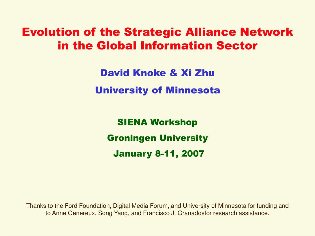 Evolution of the Strategic Alliance Network in the Global Information Sector