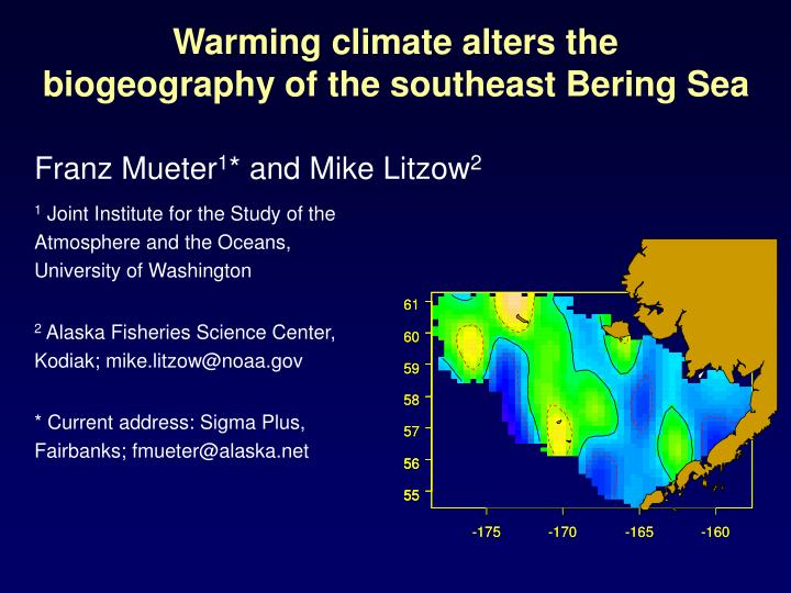 warming climate alters the biogeography of the southeast bering sea n.