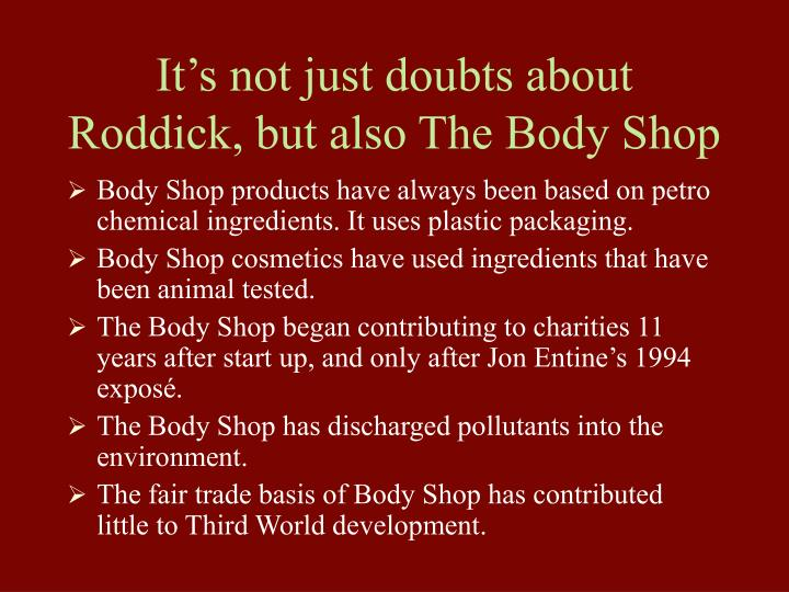 It's not just doubts about Roddick, but also The Body Shop