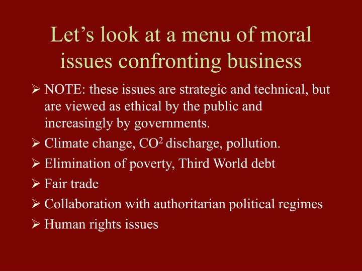 Let's look at a menu of moral issues confronting business
