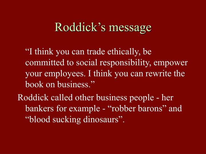 Roddick's message