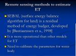 remote sensing methods to estimate et