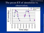 the pecan et of simulation vs observation