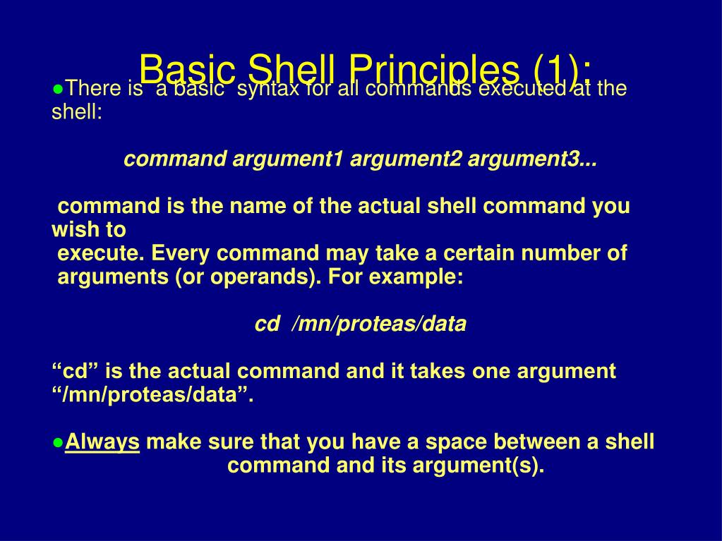 There is  a basic  syntax for all commands executed at the shell: