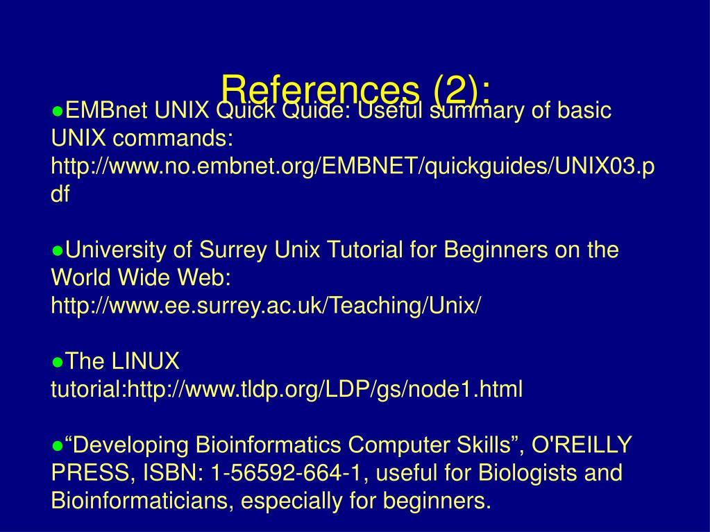 EMBnet UNIX Quick Quide: Useful summary of basic UNIX commands: