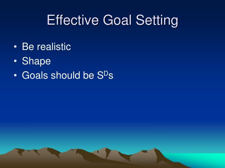 Effective goal setting