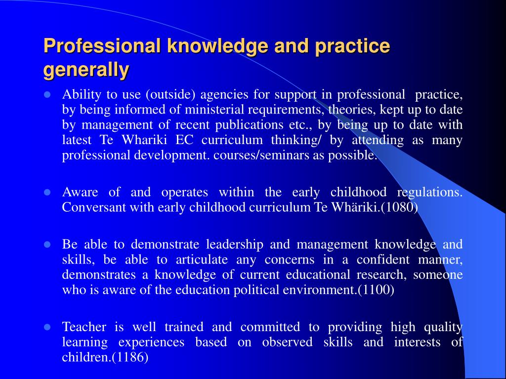 Professional knowledge and practice generally