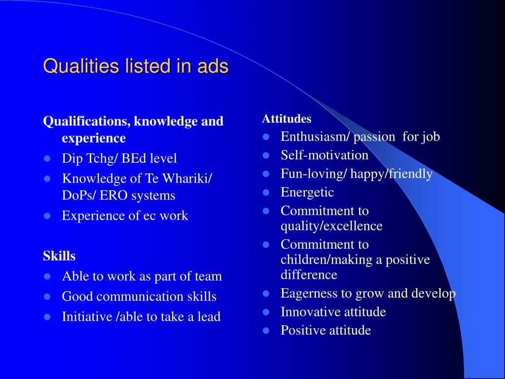 Qualifications, knowledge and experience