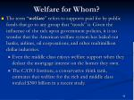 welfare for whom